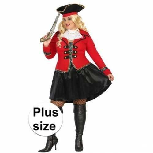 Plus size carnaval piraten verkleedkleding kapitein grace dames