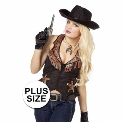 Plus size zwarte cowboy vest dames