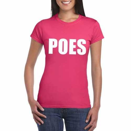 Poes tekst t shirt roze dames