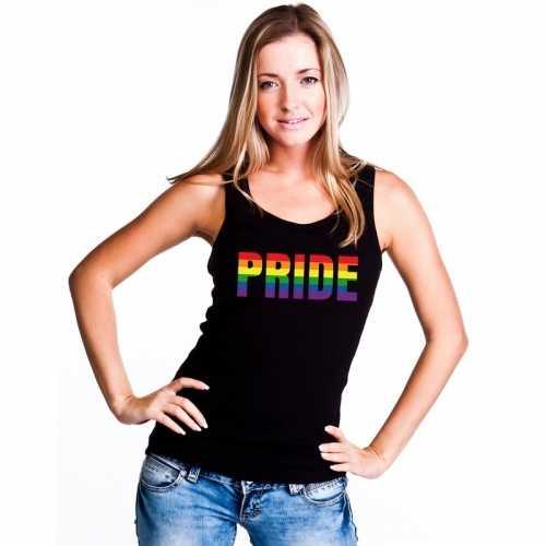 Pride regenboog tekst singlet shirt/ tanktop zwart dames