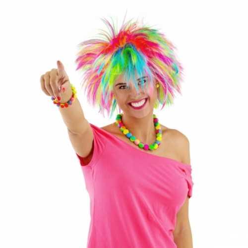Regenboog rock chick dames pruik