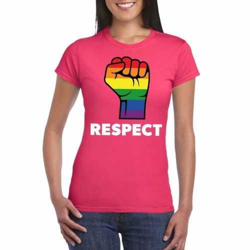 Respect lgbt shirt regenboog vuist roze dames
