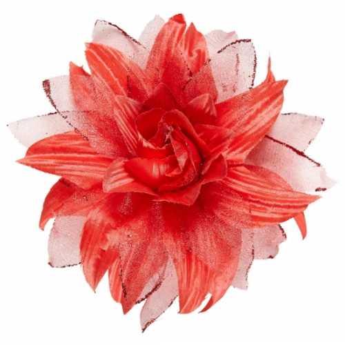 Rode bloem haarspeld glitters