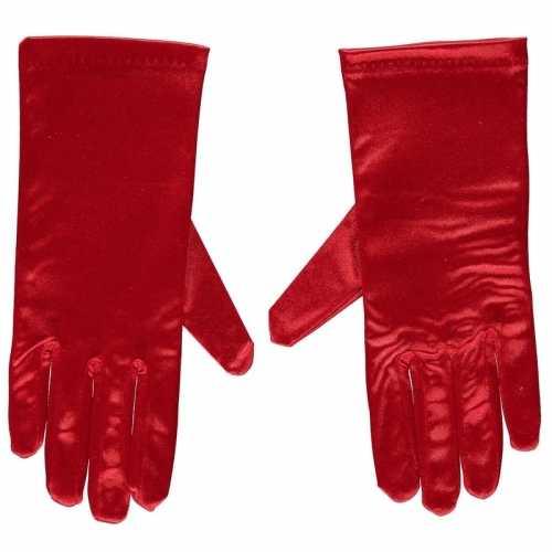 Rode gala handschoenen kort van satijn 20