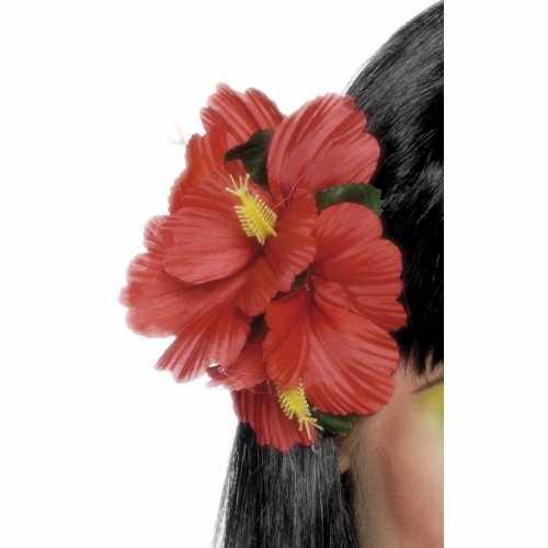 Rode haarbloem clip