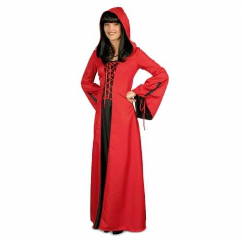 Rode middeleeuwse jurk zwart.