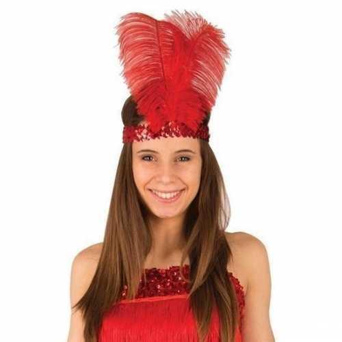 Rode roaring 20 hoofdband veren dames