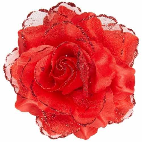 Rode roos haarspeld glitters