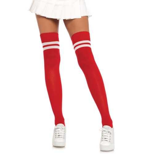 Rode verkleed kousen witte strepen dames one size