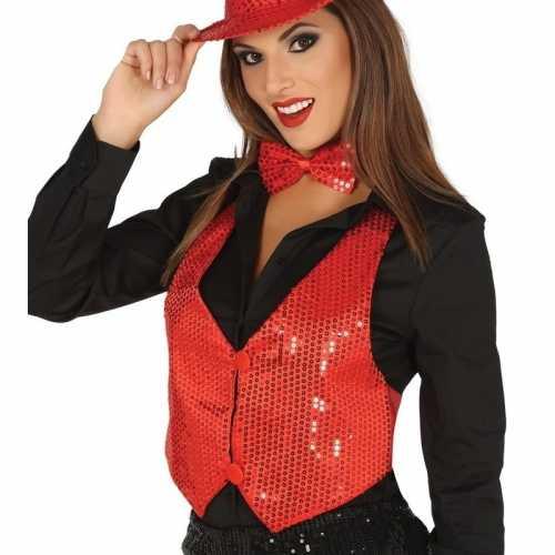 Rood gilet glitters/pailletten dames