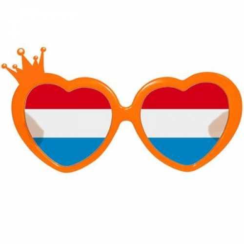 Rood wit blauwe hartjes bril