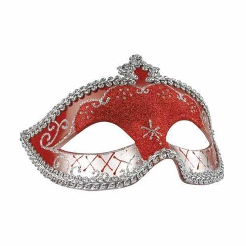 Rood/zilver glitter oog masker dames
