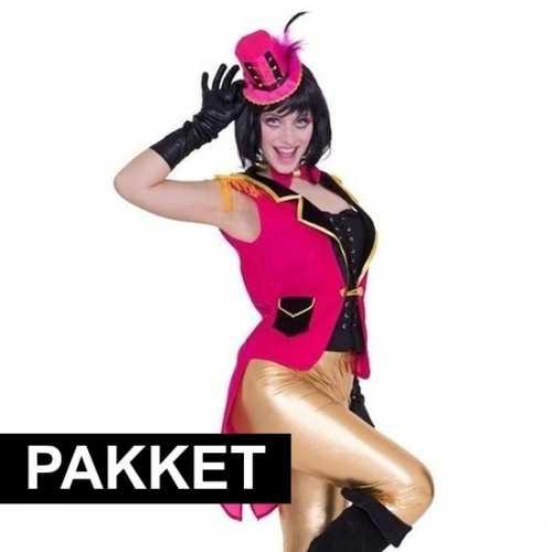 Roze circus verkleedkleding set dames