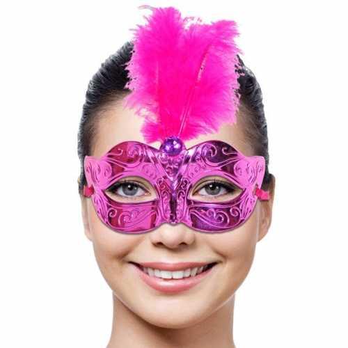Roze dames masker veer