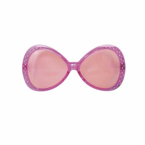 Roze feest bril diamantjes