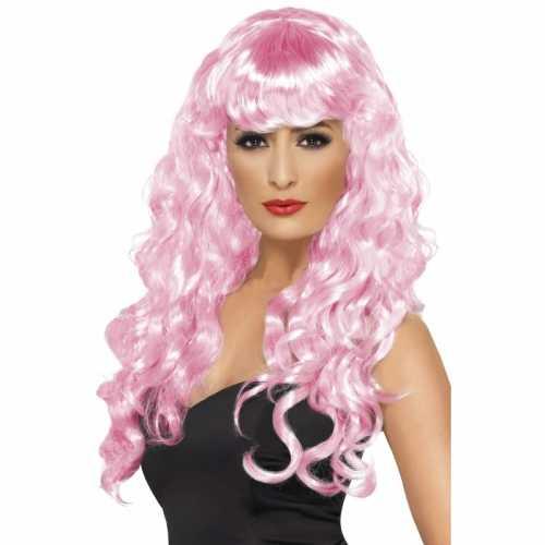 Roze feestpruik dames