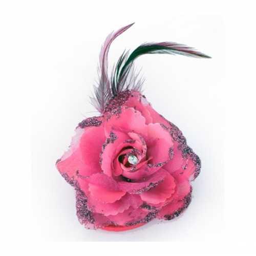 Roze glitterbloem elastiek speld