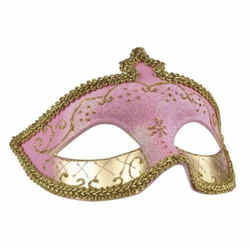Roze/goud glitter oog masker dames