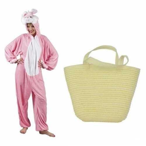 Roze konijnen/hazen pak mandje dames