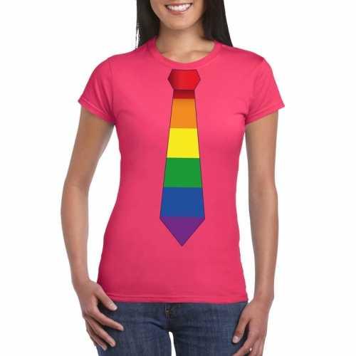 Roze t shirt regenboog vlag stropdas dames