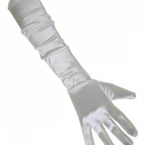 Satijnen gala handschoenen wit