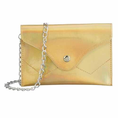 Schoudertasje/handtasje metallic goud 18