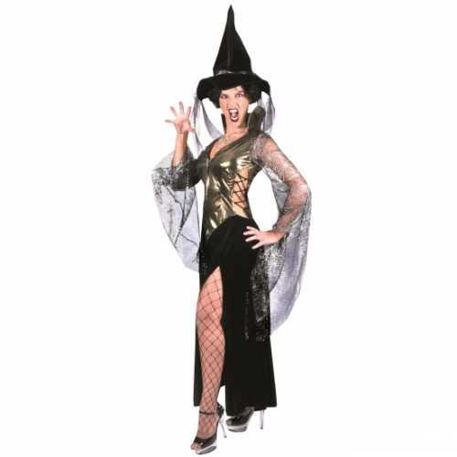 Sexy heksen verkleedkleding zwart/goud