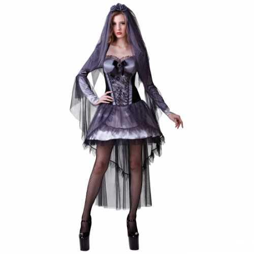 Sexy zwart bruidsjurkje halloween
