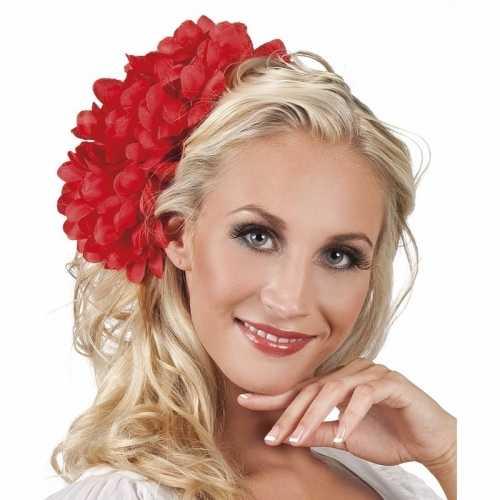 Spaanse bloem haarklem rood 20