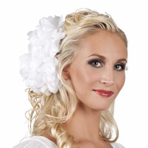 Spaanse bloem haarklem wit 20
