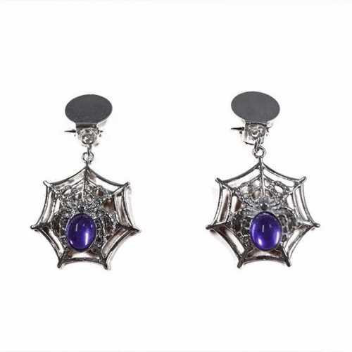 Spinnenweb oorbelletjes paars/zilver verkleedaccessoire dames