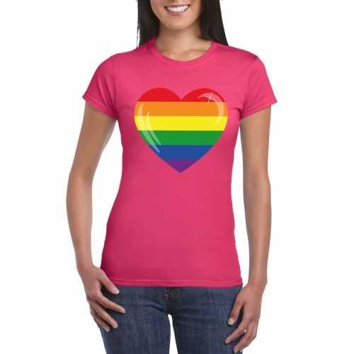 T shirt roze regenboog vlag in hart roze dames