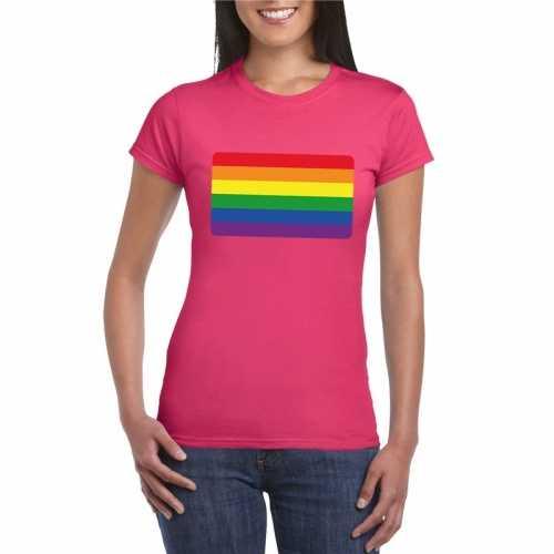 T shirt roze regenboog vlag roze dames