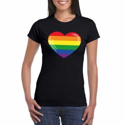 T shirt zwart regenboog vlag in hart zwart dames