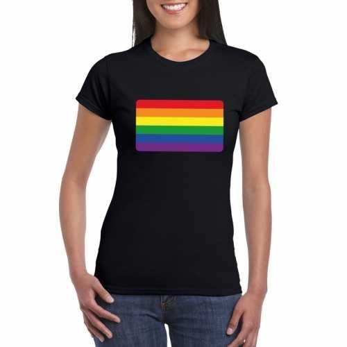 T shirt zwart regenboog vlag zwart dames