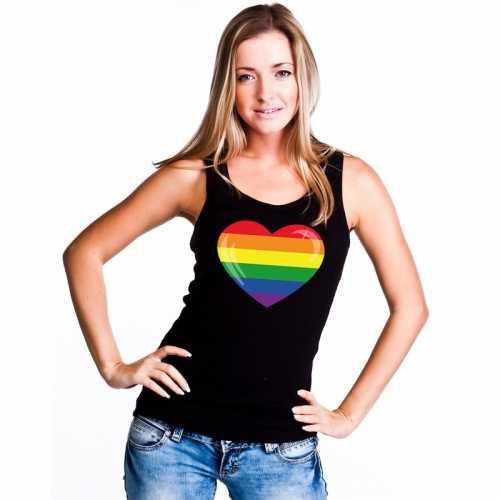 Tanktop zwart regenboog vlag in hart zwart dames