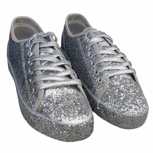 Toppers zilveren glitter disco sneakers/schoenen dames
