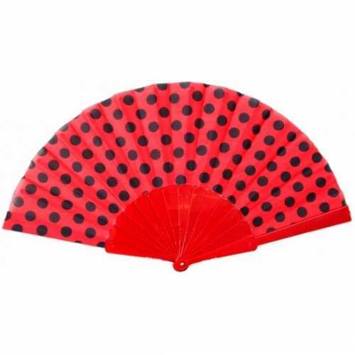 Traditionele handwaaier rood / zwart