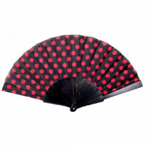 Traditionele handwaaier zwart / rood