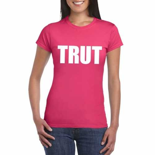 Trut tekst t shirt roze dames