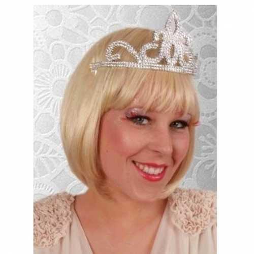Verkleed accessoire prinses tiara zilver