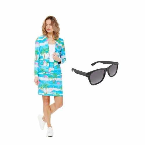 Verkleed dames mantelpak flamingo print maat 40 (l) gratis zonnebril