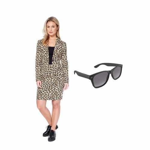 Verkleed dames mantelpak luipaard print maat 36 (s) gratis zonnebril
