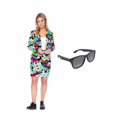 Verkleed dames mantelpak testbeeld print maat 34 (xs) gratis zonnebri
