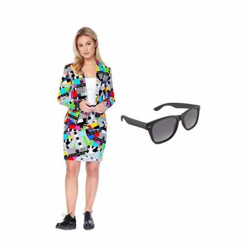 Verkleed dames mantelpak testbeeld print maat 38 (m) gratis zonnebril