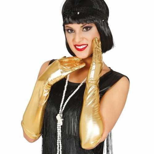Verkleed gala handschoenen goud