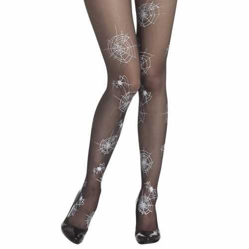Verkleed heksen damespanty spinnenwebben zwart/wit