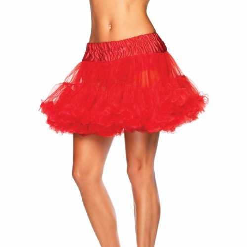 Verkleed korte petticoat rood dames