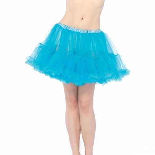 Verkleed korte petticoat turquoise dames
