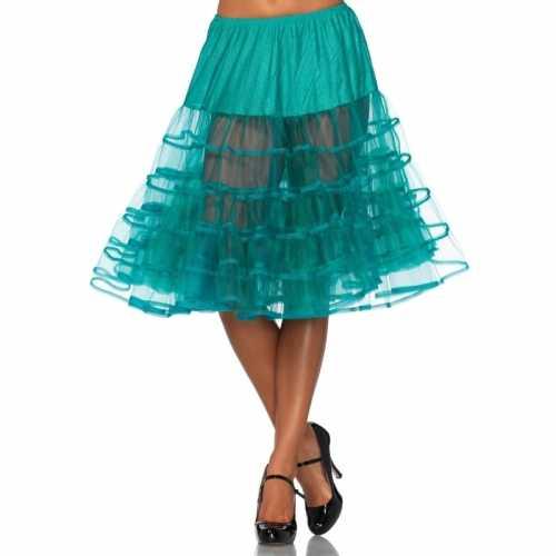 Verkleed lange petticoat jade groen dames